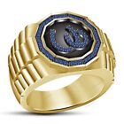 14K Yellow Gold Finish In Blue Sapphire Lucky Charm Horse Shoe Men's Band Ring