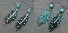 "3.5"" AZTEC HIPPY WESTERN FEATHER EARRINGS TURQUOISE BLUE"