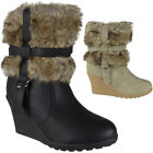 New Womens Ladies Zip High Heel Ankle Mid Calf Fur Lining Wedge Boots Shoes Size
