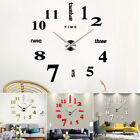 Modern DIY Large Wall Clock 3D Mirror Surface Sticker Home Office Durable