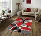 Modern Small Large Carved Quality Thick Red Silver Floor Rug Long Runners Rugs