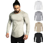 Men Long sleeved t shirt Cotton Gym Workout Casual Fashion Longsleeve Sweatshirt