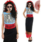 Ladies Mexican Day Of The Dead Halloween Fancy Dress Costume Skeleton UK 8-30