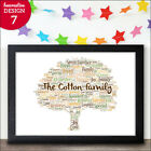 Personalised Family Tree Word Art Gift Keepsake New Home Family Tree Print Gifts