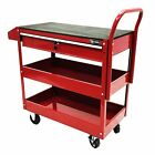 Rolling Tool Cart Two Tray Mobile Metal Worktable Rubber Work Surface Drawers US