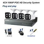 YUCHENG  4CH POE NVR HD 1080P Security System Camera Optional cable Optional HDD