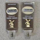 Lot 2 Vintage Heineken Imported Special Dark Beer Brown Lucite Tap Handles