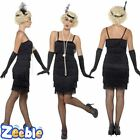 Womens 1920s Black Flapper Costume Adults Gatsby Fancy Dress Charleston Outfit