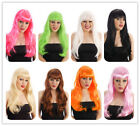 Halloween Black Blonde Brown Red Purple Pink Long Fringe wig Fancy Dress Costume