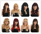 Halloween Black Brown Blonde Long Fringe Curly Wavy wig Fancy Dress Costume