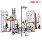 5PE213 People Eat At Café Vector Art  Multi Frame Canvas Wall Art Print