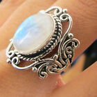 Hot Rainbow Moonstone Ring 925 Solid Silver Handmade Antique Jewelry Size 6-10