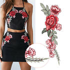 2pcs Rose Flower Applique Floral Sew Iron on Patches Badge C