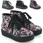 Womens Lace Up Ankle Boots Ladies Rubber Platform Wedge Goth Combat Booties Size