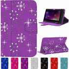 """Diamond Bling Folding Folio Leather Flip Stand Case Cover For 7"""" Devices"""