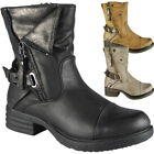 New Womens Ladies Low Heel Army Ankle Zip Buckle Winter Combat Boots Shoes Size