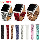 DH Glitter Shiny Christmas Leather Strap Watch Band for Apple Watch Series 3 2 1
