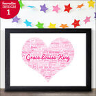 Personalised Christening Print - New Baby Gift Baby Girl Naming Day Present