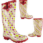 New Ladies Womens Wellies Rain Snow Winter Wellington Rubber Low Heel Boots Size