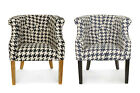 New Houndstooth Armchair Tub Chair Shabby Home Furniture Interior Black or Blue