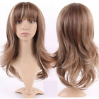 Womens Full Wigs Ombre Black Brown Blonde Red Highlight Hair Daily Cosplay Wig c