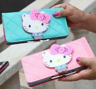 Women female bow Fashion designer hello kitty leather long wallet Zippered purse image