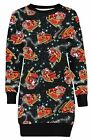 New Ladies Long Sleeve All Over Print Santa Sleigh Gifts Jumper Tops 8-22