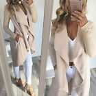 Damen Cardigan Strickjacke Wasserfall Mantel Pullover Longshirt Winter Jacke Top