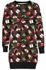 New Ladies Gift Bells Xmas Socks Candle All Over Print Jumper Dress Top 8-22