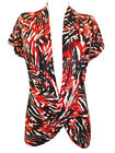 Ladies RedMix Short Sleeve Printed Crossover Wrap Drape Top Blouse Sizes 18 - 22