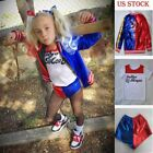 Kids Girls Suicide Squad Harley Quinn Coat Shorts Top Set Halloween Costume Suit