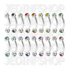 Curved Barbell Eyebrow Bar - 1.2mm (16g) - 6mm 8mm 10mm 12mm - Double Gem