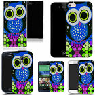 hard durable case cover for most mobile phones - blue mozaic owl