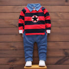 Toddler Infant Baby Boys Striped Pullovers Shirts Blouse+Long Pants Outfits NEW
