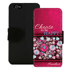 PERSONALIZED WALLET CASE FOR iPHONE X 8 7 6S 6S SE 5C 5S PLUS HAPPY QUOTE PINK