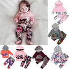 Newborn Infant Baby Girl Floral Hoodie Tops Long Pants 2PCS Outfits Clothes Set