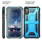 iPhone X Case Kickstand Clip Holster Shockproof Protection Heavy Duty Blue/Black