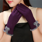 Women Gloves Bowknot Cashmere Touch Screen  Warm Cycling line Outdoor Gloves