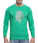Clifton Men's Printed Full Sleeve R-Neck T-Shirt-Stump Green-Tribe-1