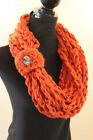 Women's Crochet Bulky Warm Autumn Fall Winter Infinity Chain Scarf Wood Button