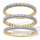 Diamond Accent 18k Gold Plated 3 Piece Eternity Stack Ring Set