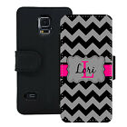 PERSONALIZED WALLET CASE FOR SAMSUNG S5 S6 S7 BLACK AND GRAY CHEVRON PINK