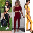 Womens Ladies Striped Skinny Tailored Top LoungeWear Tracksuit Bottom TrouserSet