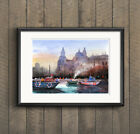 WILL ELLISTON Fine Art PRINT Albert Docks Liverpool Boats Watercolour Painting