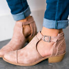 Qupid Shoes Bucke Side Cut Out Buckled Bootie Ankle Boots in Taupe