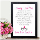 NANNY GRANNY PERSONALISED Keepsake Poem Christmas Gifts Xmas Presents Nan Nanna