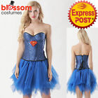 K437 Deluxe Supergirl Sequins Corset Tutu Skirt Superhero Fancy Dress Up Costume