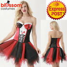 K437 Ladies Harley Quinn Harlequin Corset Tutu Pettiskirt Party Dress Up Costume