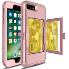 Wallet Card Slot Holder Mirror Stand Shockproof Case Cover For iPhone 7 / 8 Plus