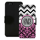 MONOGRAMMED WALLET CASE FOR iPHONE X 8 7 6 5 5C SE PLUS GRAY PINK CHEVRON DAMASK